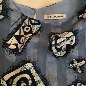 St. John Tops - St John Abstract Print 100% Silk Blouse Size 8